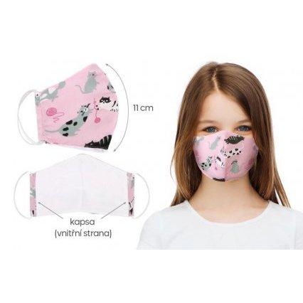 Ústní rouška dětská , dívčí bavlněná na gumičku s vnitřní kapsou