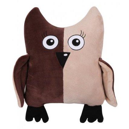 Tvarovaný polštářek sova hnědobéžová