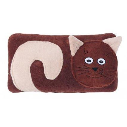 Tvarovaný polštářek kočička hnědá