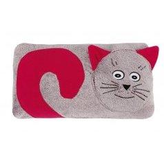 Tvarovaný polštářek kočička bordová