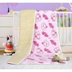 Evropské merino deka dětská bílá s růžovým  povrchem